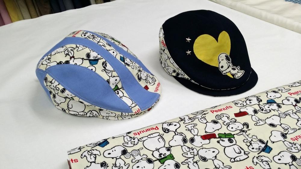 スヌーピー柄の手作りハンチング帽
